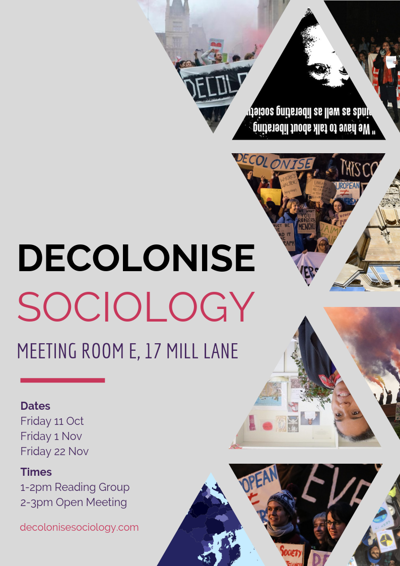 Decolonise Sociology Committee Termcard 2019