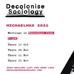 Decolonise Sociology Termcard 2021